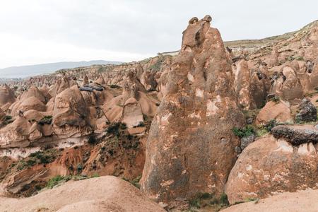 beautiful bizarre eroded rock formations in cappadocia, turkey