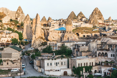 beautiful old buildings and majestic rock formations in cappadocia, turkey
