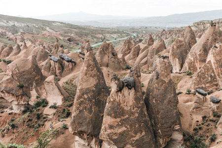 aerial view of scenic bizarre rock formations in cappadocia, turkey