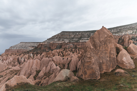 beautiful landscape with bizarre rock formations in famous cappadocia, turkey Imagens