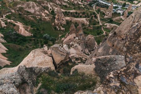 aerial view of majestic landscape with bizarre rock formations in famous cappadocia, turkey 版權商用圖片 - 105697742
