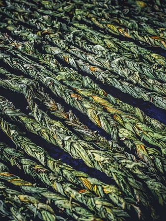 full frame shot of braided aveluk selling on farmers market at armenia