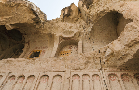 low angle view of cave church in goreme national park, cappadocia, turkey