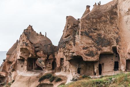 beautiful view of caves in sandstone, cappadocia, turkey Imagens