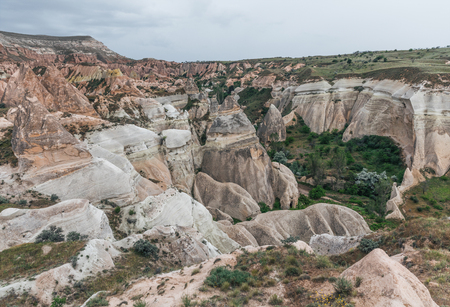 scenic view of beautiful rock formations in famous cappadocia, turkey