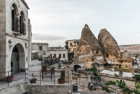 beautiful architecture and scenic view of caves in rocks, cappadocia, turkey