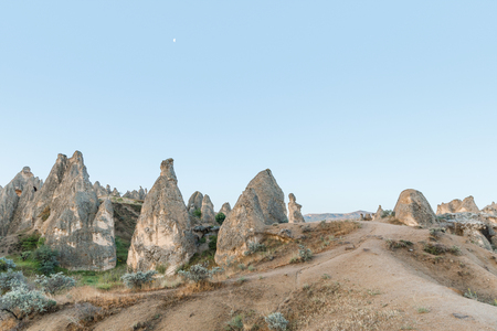 beautiful scenic landscape with bizarre rock formations in cappadocia, turkey Imagens
