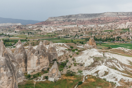 aerial view of majestic landscape in goreme national park, cappadocia, turkey 写真素材