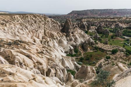 aerial view of majestic landscape in goreme national park, cappadocia, turkey 版權商用圖片 - 105704929