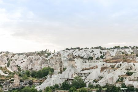 beautiful landscape in famous goreme national park, cappadocia, turkey