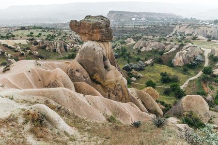 beautiful landscape with eroded bizarre rock formations in famous cappadocia, turkey