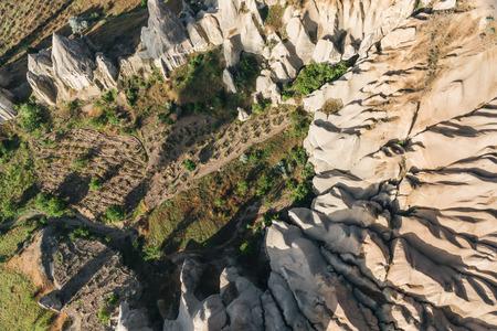 aerial view of beautiful landscape in goreme national park, cappadocia, turkey