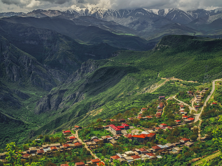 aerial view of village in mountains on cloudy day, Armenia