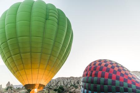 CAPPADOCIA, TURKEY - 09 MAY, 2018: hot air balloons in goreme national park, cappadocia, turkey Imagens
