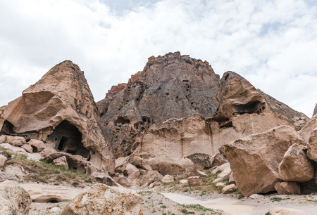 majestic rock formations and caves in limestone at famous cappadocia, turkey