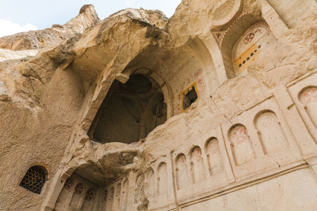 low angle view of beautiful cave church in goreme national park, cappadocia, turkey Imagens