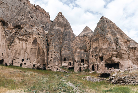 beautiful rock formations and caves in limestone at famous cappadocia, turkey