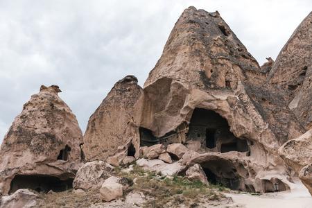majestic caves in limestone at famous cappadocia, turkey