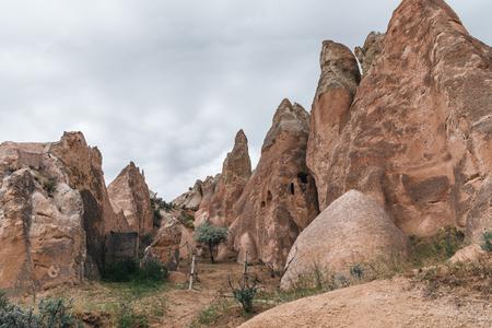 majestic view of bizarre rock formations in famous cappadocia, turkey