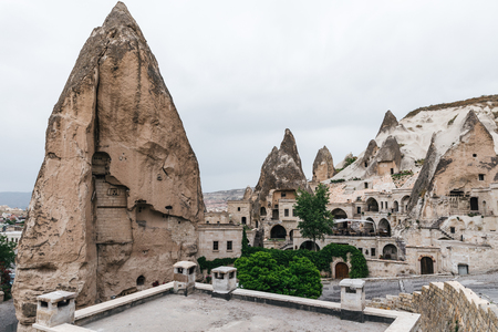 beautiful buildings and scenic rock formations in cappadocia, turkey Imagens