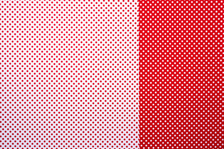 top view of red and white surface with polka dot pattern for background Stock Photo