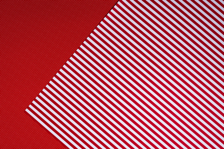 top view of red and white template with polka dot pattern and stripes for background