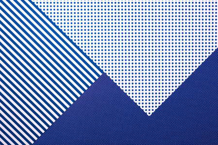 top view of abstract blue composition with stripes and dots for background 스톡 콘텐츠