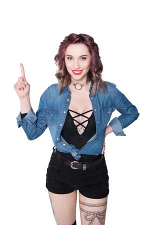 stylish happy woman pointing up isolated on white Stock Photo