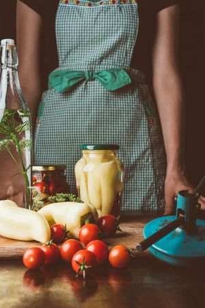 cropped image of woman standing near preserved vegetables in glass jars at kitchen Banco de Imagens - 105733416