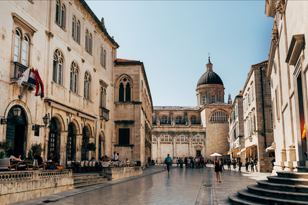 CROATIA, DUBROVNIK - MAY 7, 2018: urban scene with Virgin Mary Ascension Cathedral in Dubrovnik city, Croatia