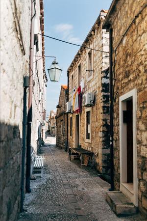 scenic view of empty narrow street in Dubrovnik, Croatia