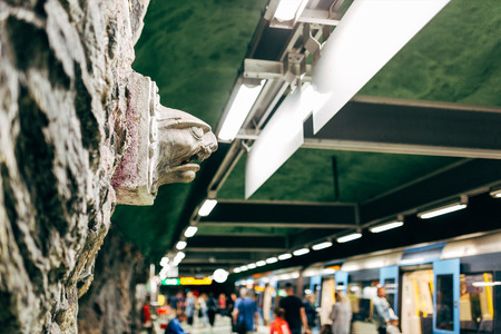 SWEDEN, STOCKHOLM - APRL 27, 2018: modern designed metro station Kungstradgarden in Stockholm, Sweden