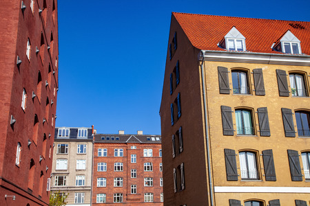 low angle view of beautiful historical buildings and blue sky, copenhagen, denmark Stok Fotoğraf