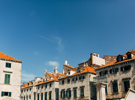 urban scene with architecture and clear blue sky in Dubrovnik, Croatia 写真素材