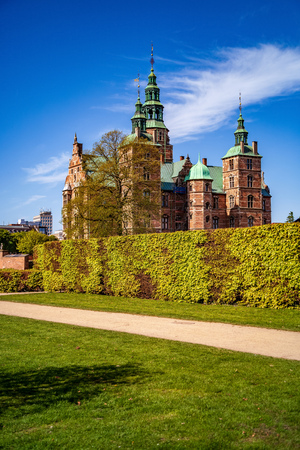 majestic view of beautiful historical palace against blue sky, copenhagen, denmark