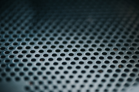 Texture of metal grid of professional coffee roasting machine Imagens