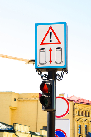 close up view of road signs and traffic signs in city 写真素材