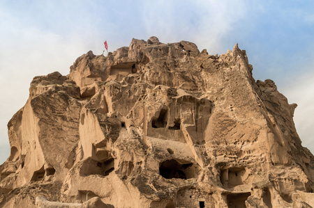front view of old cave dwellings at Goreme National Park, Cappadocia, Turkey 版權商用圖片