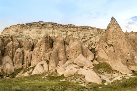front view of rocky hills and mountain under blue sky, Cappadocia, Turkey 版權商用圖片 - 105825742