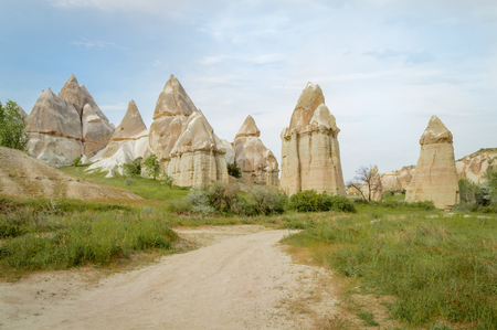 front view of famous fairy chimneys in valley, Cappadocia, Turkey