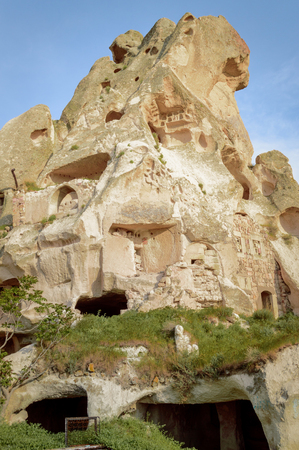 low angle view of old cave dwellings at Goreme National Park, Cappadocia, Turkey 版權商用圖片