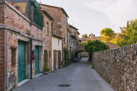 urban view of empty street in Tuscany, Italy