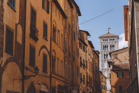 old street with ancient buildings in Pisa, Italy 写真素材