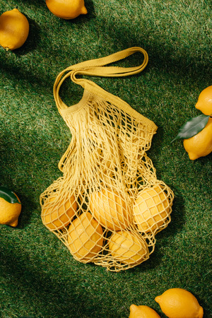 elevated view of lemons and net on green lawn