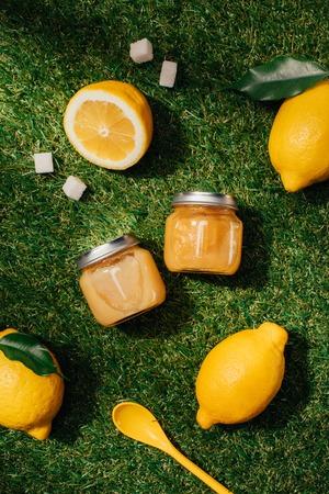 top view of lemons, sugar, puree in jars and spoon on green lawn Standard-Bild - 105909090