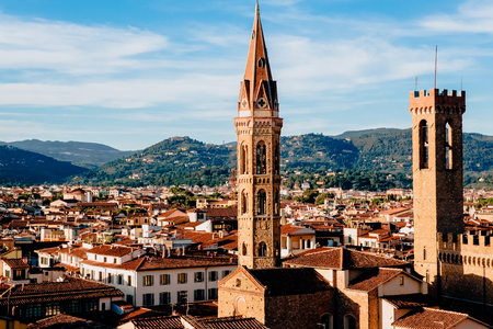 beautiful cityscape with ancient buildings in florence, italy