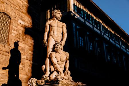 Statue of Hercules and Caco of Baccio Bandinelli, piazza della Signoria in Florence, Italy Standard-Bild
