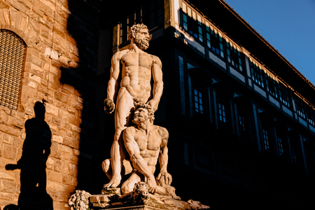 Statue of Hercules and Caco of Baccio Bandinelli, piazza della Signoria in Florence, Italy Stock Photo