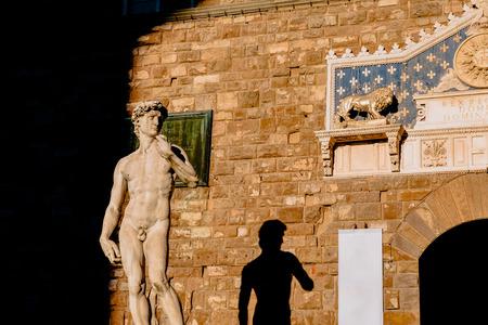 famous Michelangelos sculpture of David in Piazza Della Signoria, Florence, Italy Stock fotó