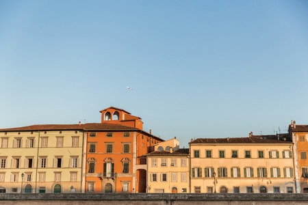 landmark with ancient buildings in historical city, Pisa, Italy
